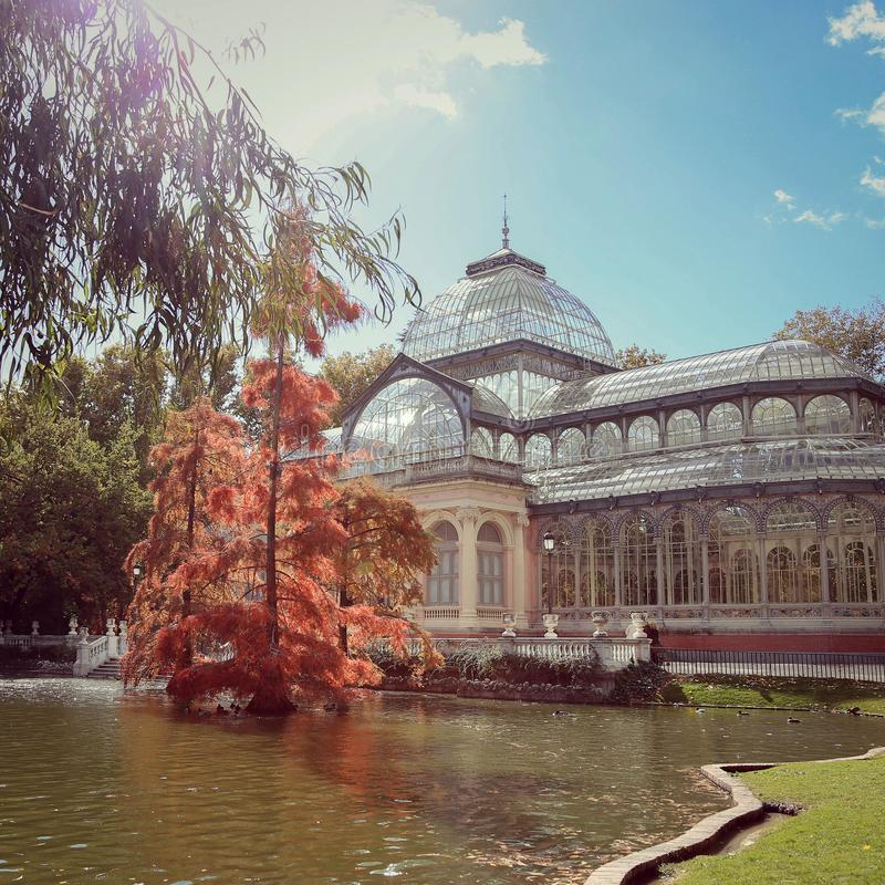 Palacio de cristal in Retiro park, Madrid stock photos