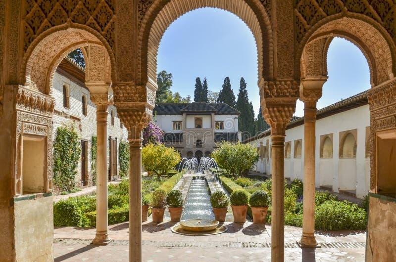 Palacio de Generalife, Granada, Spanien royaltyfri fotografi