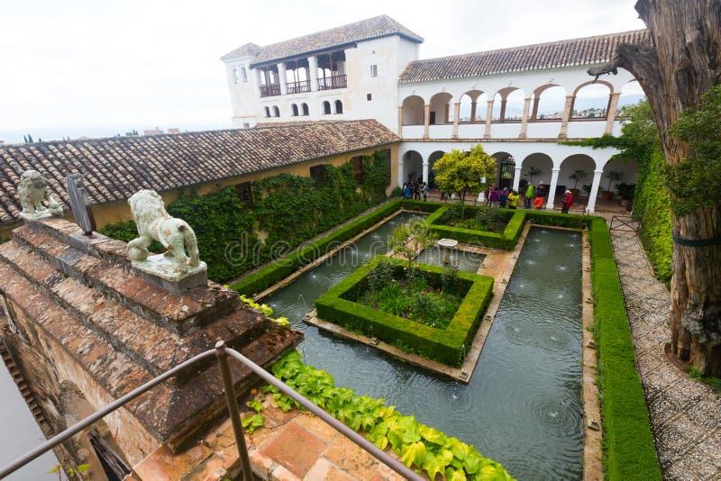Palacio de Generalife (Palacio de Generalife) Granada, España imágenes de archivo libres de regalías