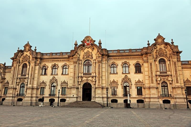 Palacio de Gobierno - prefeito da plaza, Lima imagem de stock