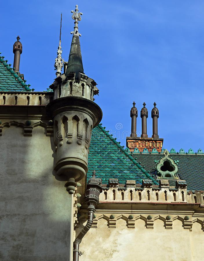 Palacio de Jakab del detalle del top del tejado, Kosice Eslovaquia imagenes de archivo