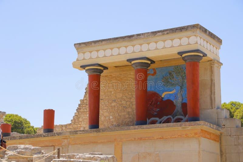 Palacio de Knossos Detalle de ruinas antiguas del palacio famoso de Minoan de Knosos Isla de Crete, Grecia imagen de archivo