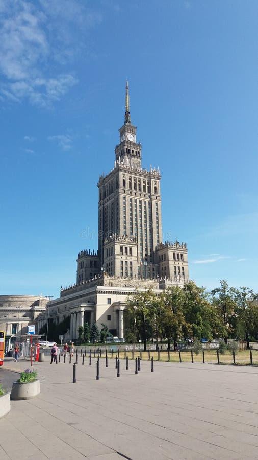 Palacio de la cultura y de la ciencia en Varsovia fotografía de archivo