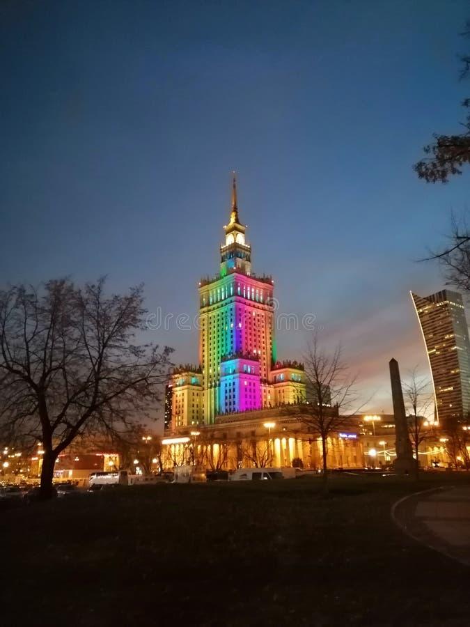 Palacio de la cultura y de la ciencia en Varsovia y x28; PKiN& x29; fotografía de archivo libre de regalías