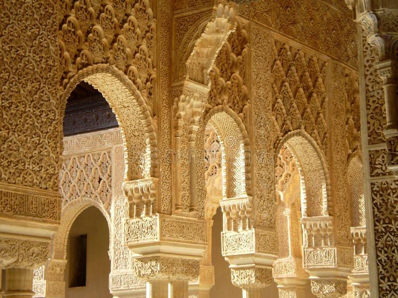 Palacio de los Leones. Patio de los Leones, Old building in Alhambra in Andalusia in the South of Spain stock photo