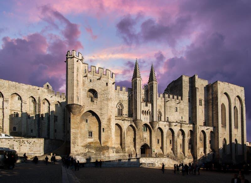 Palacio de los papas, Aviñón, Francia foto de archivo libre de regalías