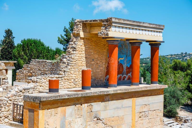 Palacio de Minoan de Knossos en Creta, Grecia imágenes de archivo libres de regalías