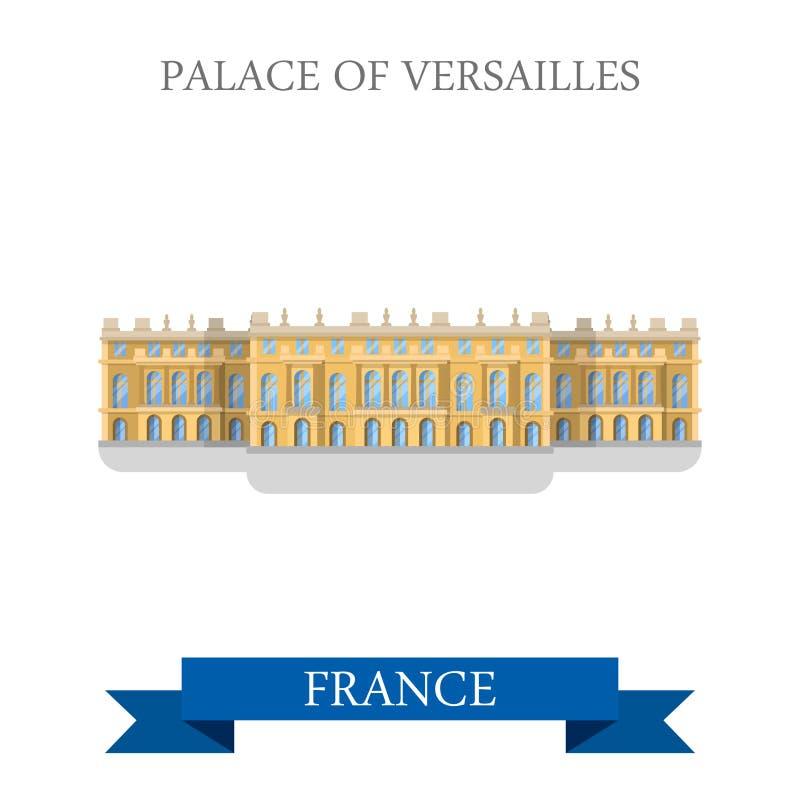 Palacio de Versalles en señal plana de la atracción del vector de Francia stock de ilustración