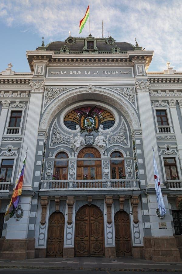 Palacio del cargo de Gobernador de Chuquisaca en la plaza 25 de Mayo Square en Sucre fotografía de archivo libre de regalías