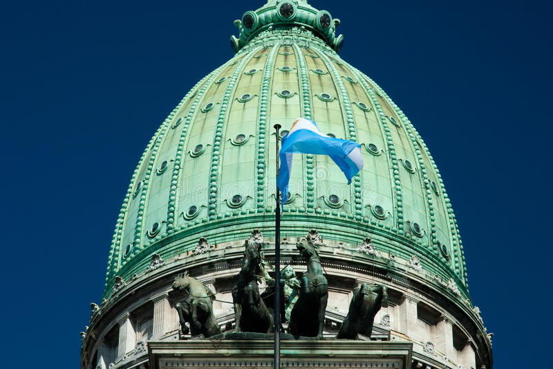 Palacio Del Congreso. High section view of Palacio Del Congreso building, Buenos Aires, Argentina royalty free stock photos