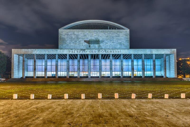Palacio del congreso, distrito del EUR, Roma, Italia fotografía de archivo libre de regalías