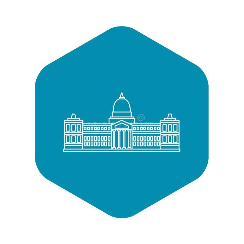 Palacio del congreso, icono de Buenos, estilo del esquema stock de ilustración