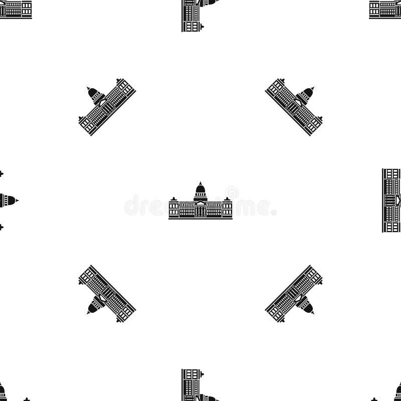 Palacio del congreso, negro inconsútil del modelo de la Argentina stock de ilustración