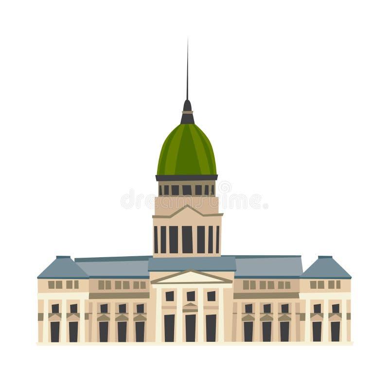 Palacio del ejemplo del vector del congreso nacional de Argentina stock de ilustración