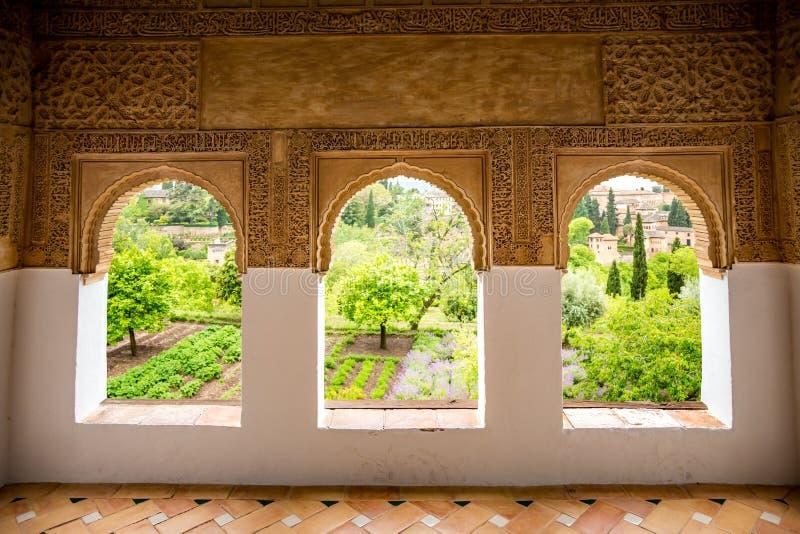 Palacio del Generalife, внутреннее стоковые изображения