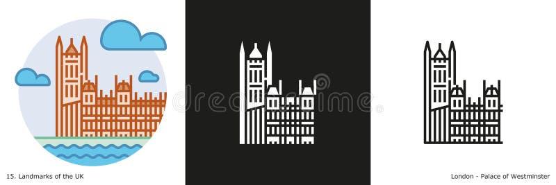 Palacio del icono de Westminster ilustración del vector