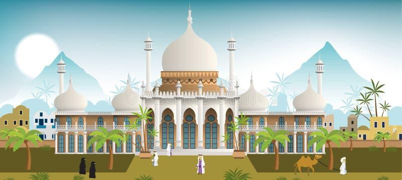 Palacio en la ciudad árabe stock de ilustración