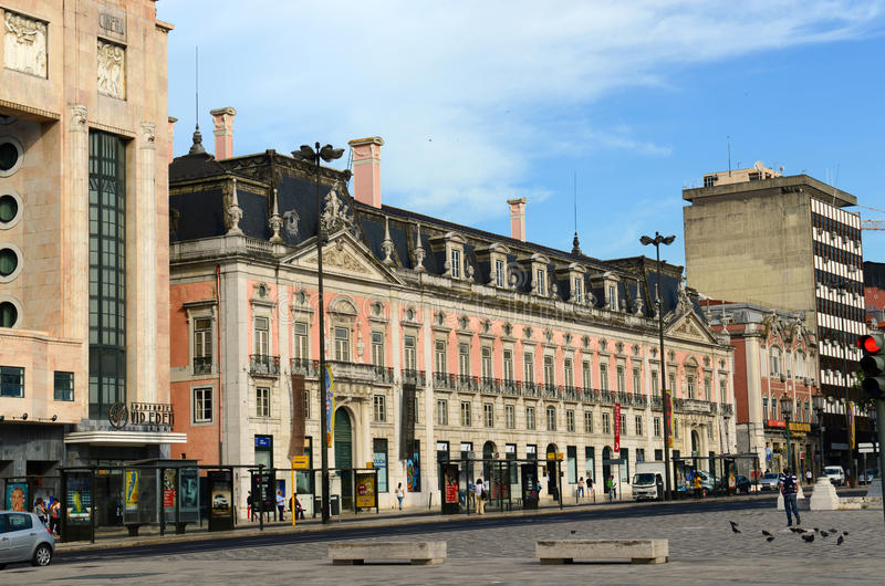 Palacio Foz, quadrado de Restauradores, Lisboa, Portugal fotos de stock