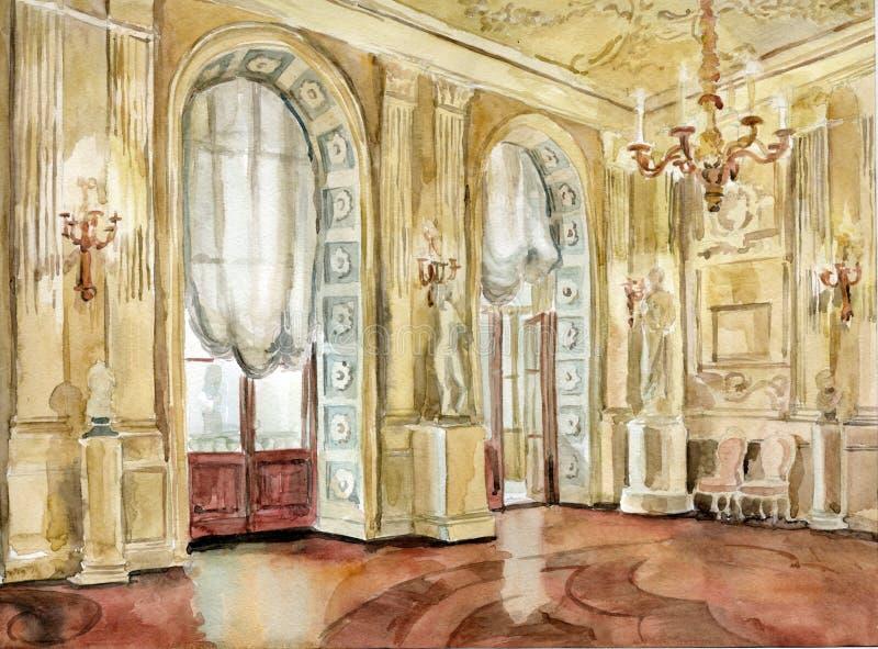 Palacio grande de Gatchina stock de ilustración
