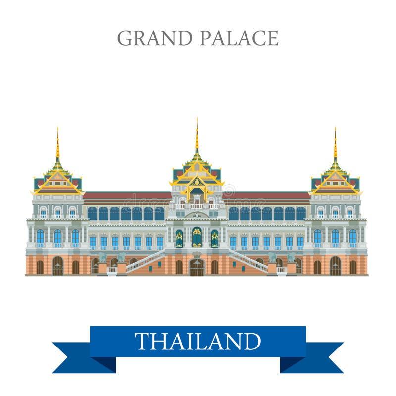 Palacio magnífico en viaje plano de la atracción del vector de Bangkok Tailandia libre illustration