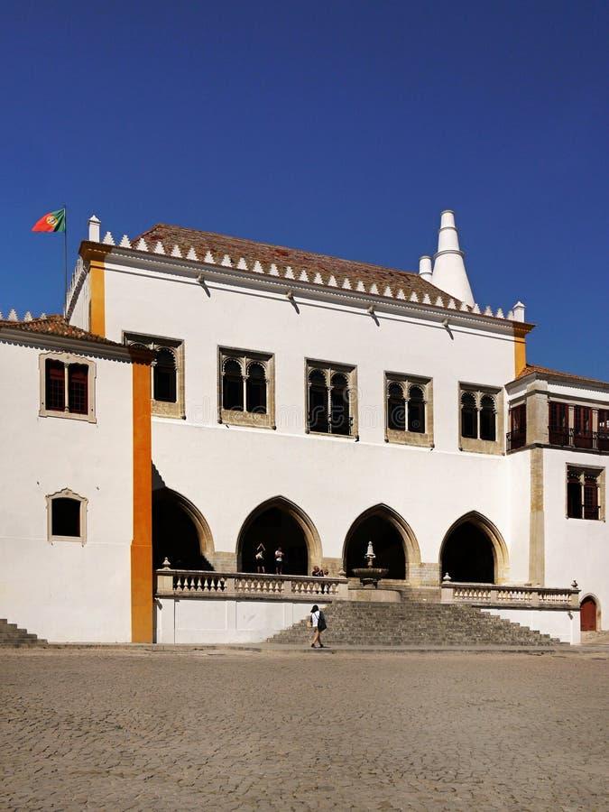 Palacio nacional de la ciudad de Sintra, Portugal fotos de archivo