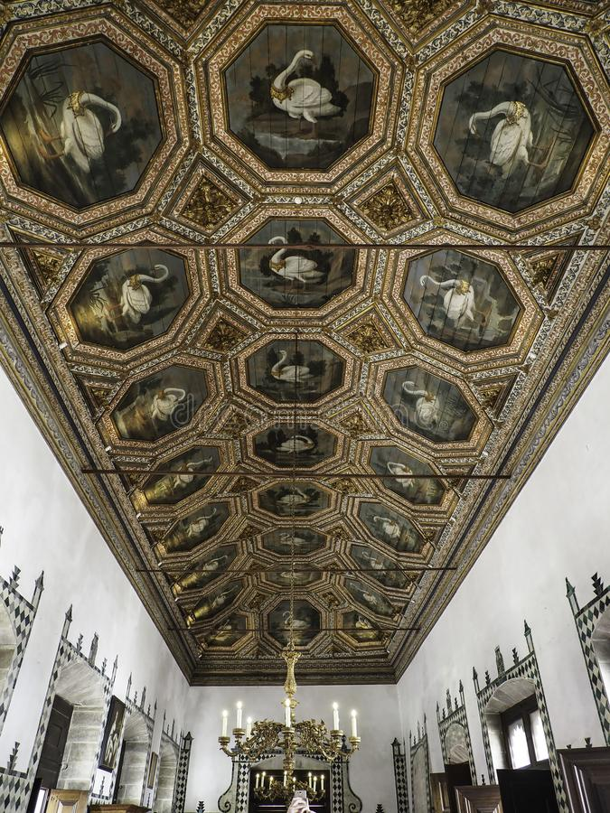 Free Palacio Nacional De Sintra Swan Ceiling -2 Stock Photography - 159648322