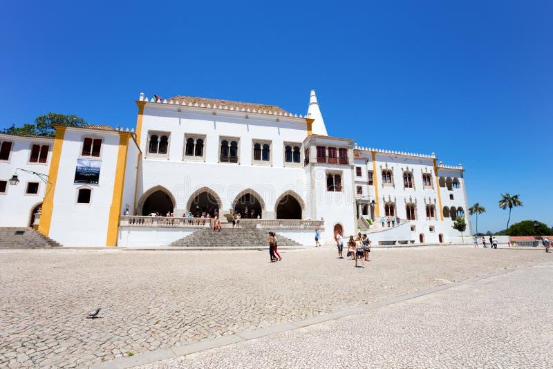 Palacio nacional en Sintra, Portugal, ciudad agradable cerca de Lisboa fotografía de archivo libre de regalías