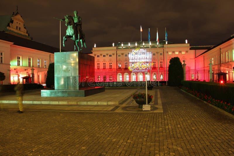 Palacio presidencial en la noche. Warsaw.Poland foto de archivo libre de regalías