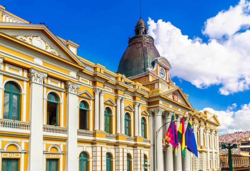 Palacio Quemado - woonplaats de bouw van de president van Bolivië in La Paz stock foto