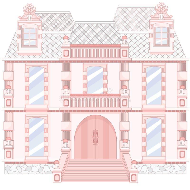 Palacio rosado real mágico de la historieta stock de ilustración