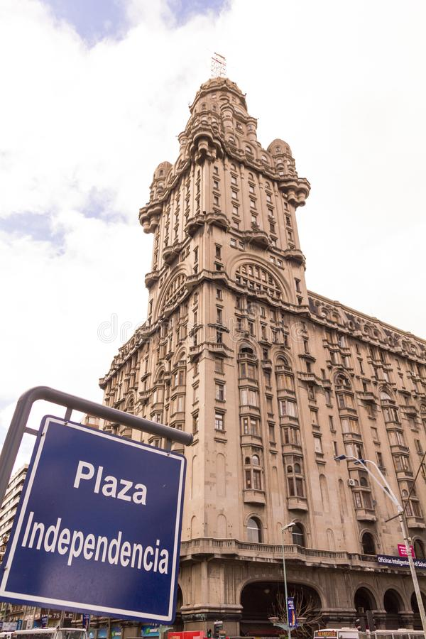 The Palacio Salvo, in the independence square of Montevido, the center of the capital of Uruguay. Eclectic Art Deco style, is an. Montevideo, Uruguay, september royalty free stock image