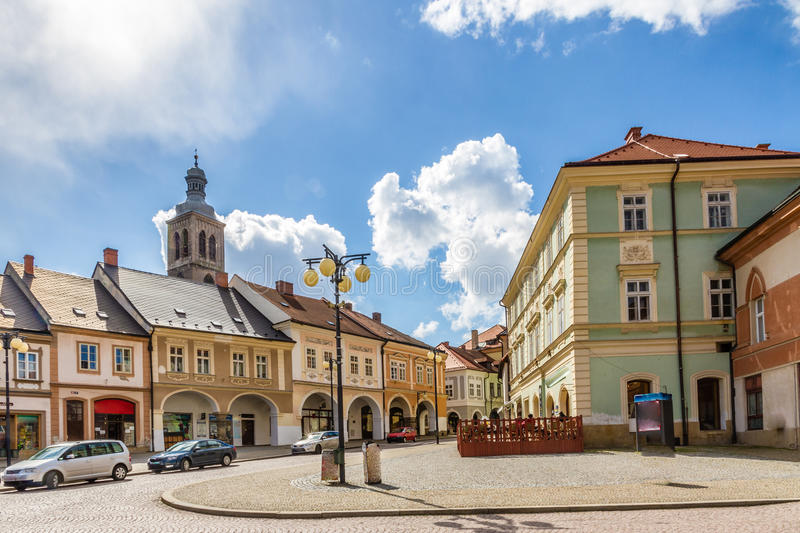 Palacky Square With Old Buildings-Kutna Hora. Palacky Square With Old Buildings And Church Tower In The Background-Kutna Hora,Czech Republic royalty free stock image