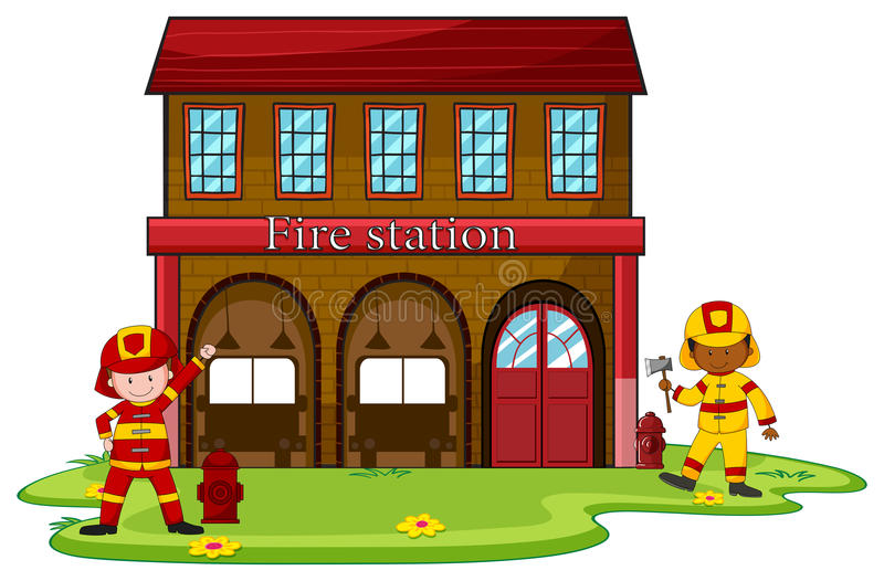 Palacze pracuje przy posterunkiem straży pożarnej ilustracji