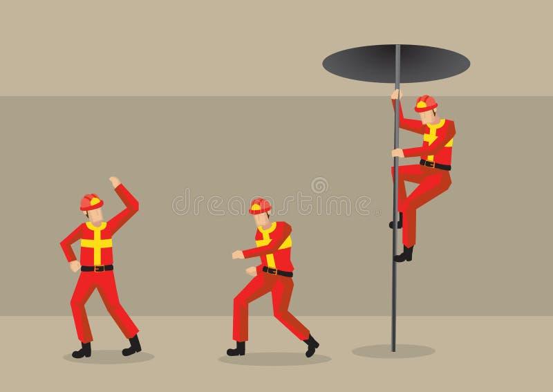 Palacze w posterunek straży pożarnej kreskówki Wektorowej ilustraci ilustracja wektor