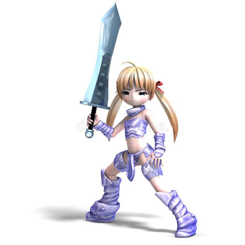 Paladín femenino del manga con la espada enorme. 3D libre illustration