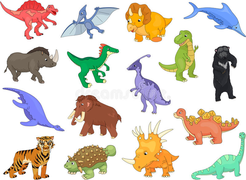 Palaeosaurus, styracosaurus, spinosaurus, ichthyosaur, diplodocu ilustracja wektor