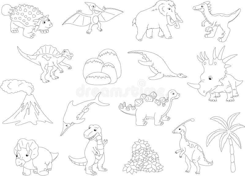 Palaeosaurus, styracosaurus, spinosaurus, ichthyosaur, diplodocu stock de ilustración