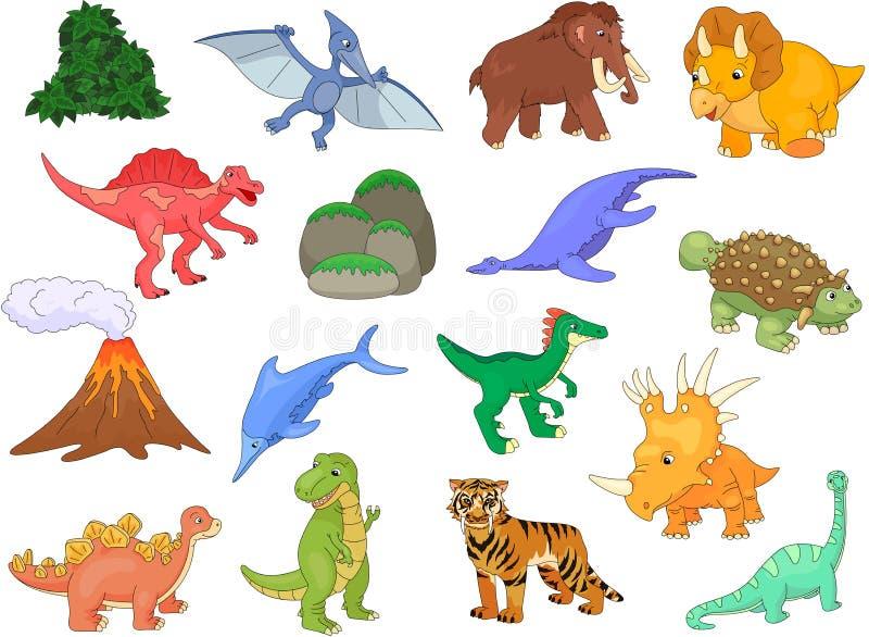 Palaeosaurus, styracosaurus, spinosaurus, ichthyosaur, diplodocu ilustracji