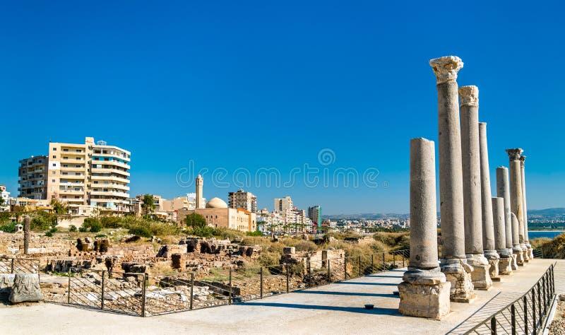 Palaestra på Al Mina den arkeologiska platsen i däcket, Libanon arkivbilder
