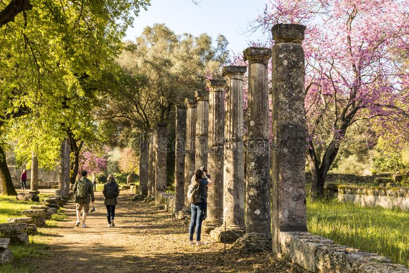 Palaestra på Olympia, Grekland royaltyfri bild