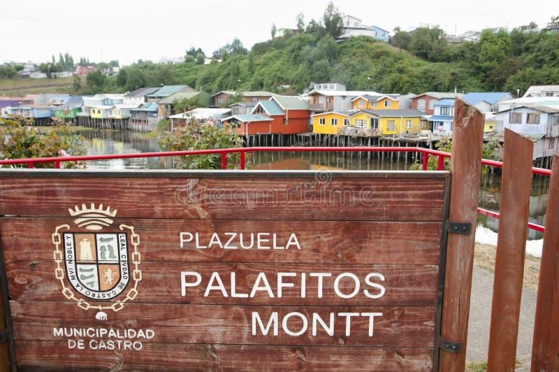 Palafito contiene la muestra - Castro - Chile fotografía de archivo