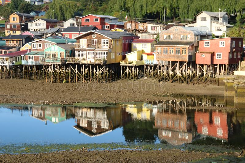 Palafitos in Castro, Chile. Palafitos in Castro, Chiloe Island, Southern Chile. These are houses built on stilts over the water and arevery characteristic of royalty free stock photography