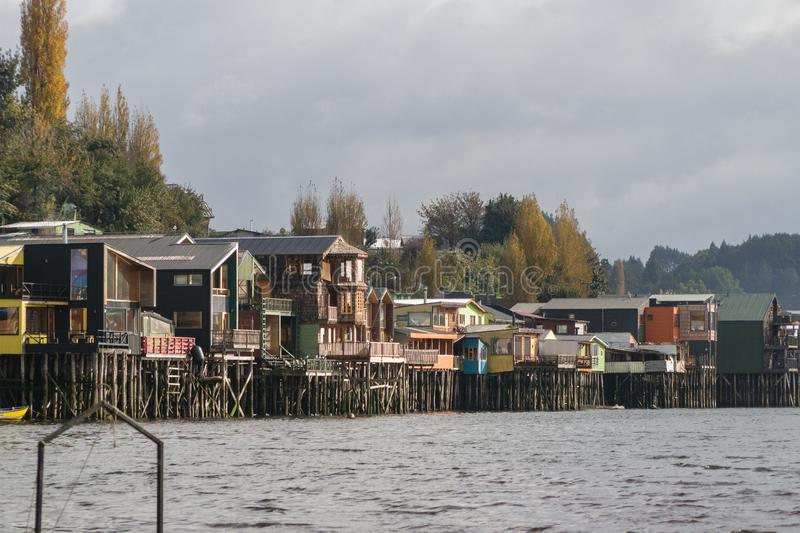 Palafitos in Castro, Chiloe island in Chile. Typical houses in patagonia stock photos