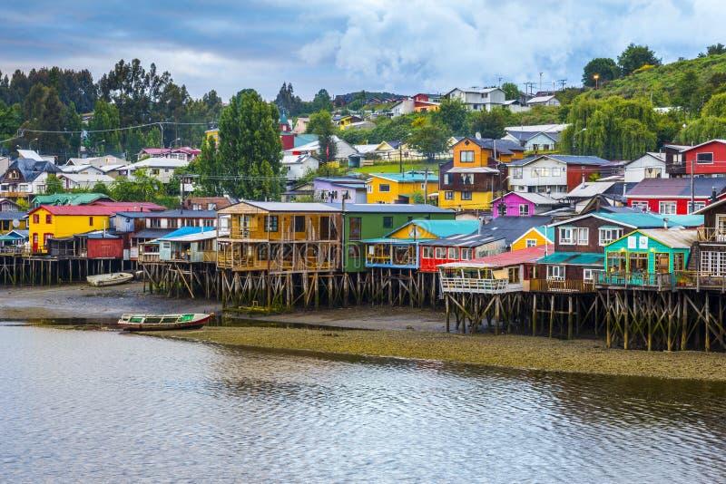 Palafitos en Castro, isla de Chiloe (Chile) imagen de archivo libre de regalías