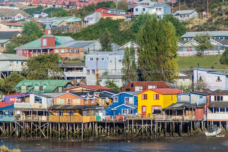Palafitos stilt domy w Castro, Chile zdjęcie royalty free