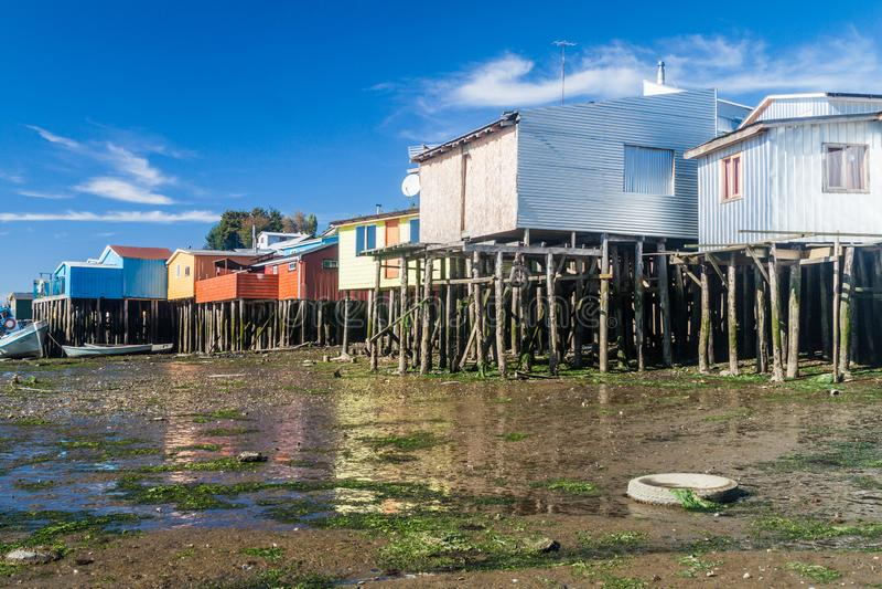 Palafitos stilt domy w Castro, Chile obraz stock