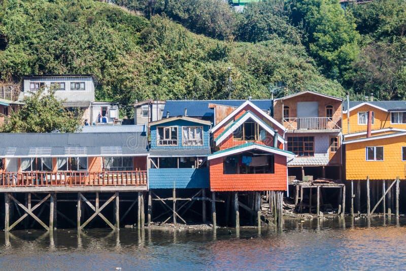 Palafitos stilt houses in Castro, Chile. Palafitos stilt houses in Castro, Chiloe island, Chile royalty free stock photo
