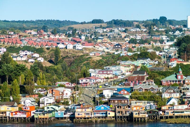 Palafitos stilt houses in Castro, Chile. Palafitos stilt houses in Castro, Chiloe island, Chile royalty free stock photos