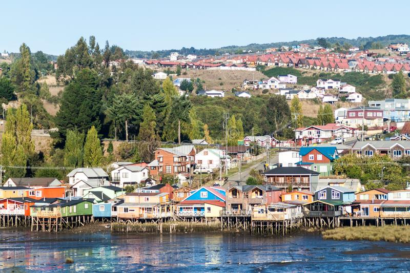 Palafitos stilt houses in Castro, Chile. Palafitos stilt houses in Castro, Chiloe island, Chile stock images