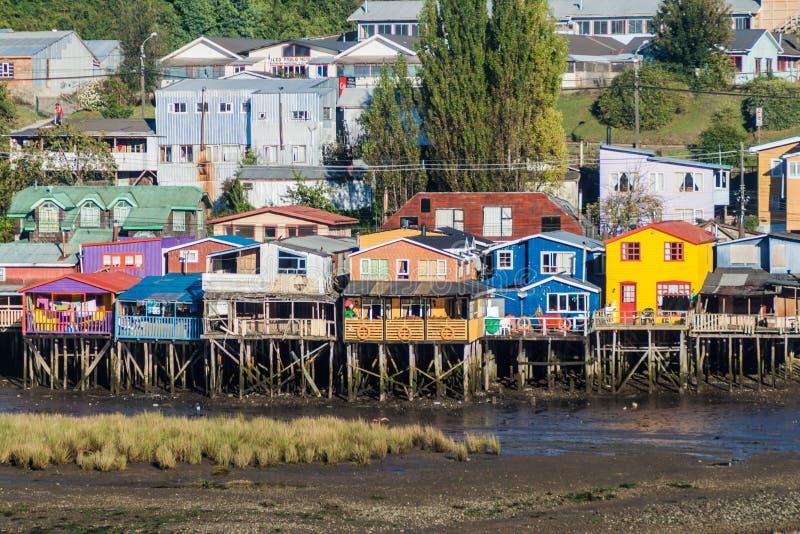 Palafitos stilt houses in Castro, Chile. Palafitos stilt houses in Castro, Chiloe island, Chile stock photos